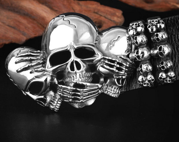 3 Wise Skulls Leather Belt | Best 3 Wise Skulls Leather Belt | Best Skulls Leather Belt
