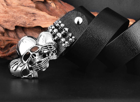 Heavy Skull Leather Belt - 2