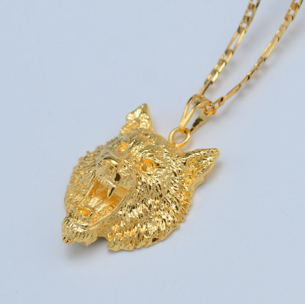 Golden wolf pendant chain 24k gold plated proudandfreebiker golden wolf pendant chain 24k gold plated mozeypictures Choice Image