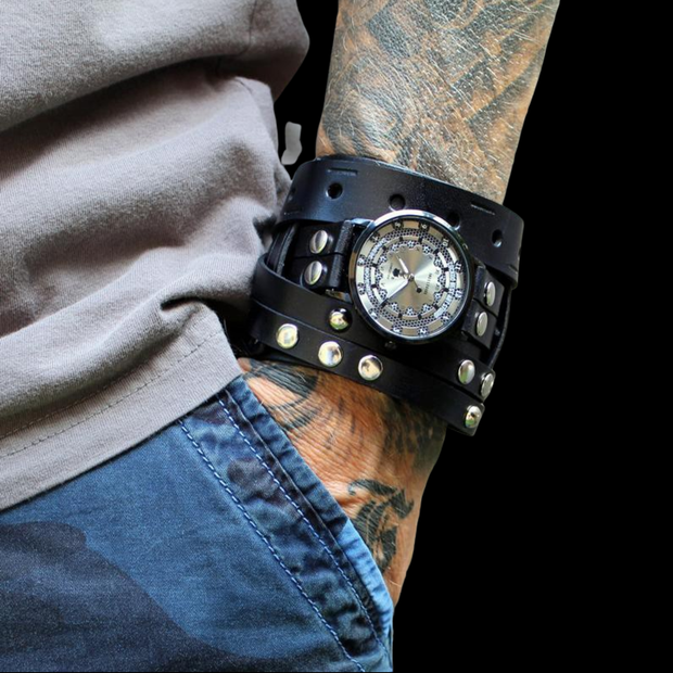 The Studmaster Leather Cuff Watch