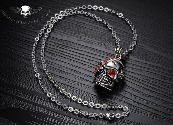 RED ZIRCON SKULL PENDANT