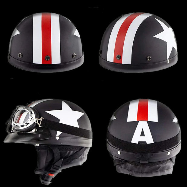 US or UK Flag DOT Retro Half Helmet