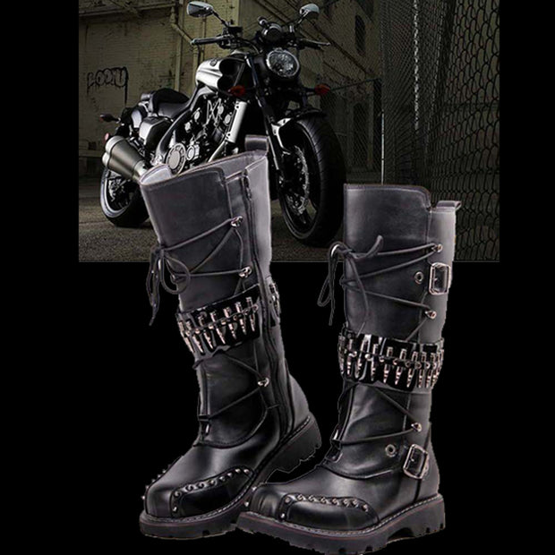 Bullet Boots | Bikers Bullet Boots | Black Leather Bullet Boots