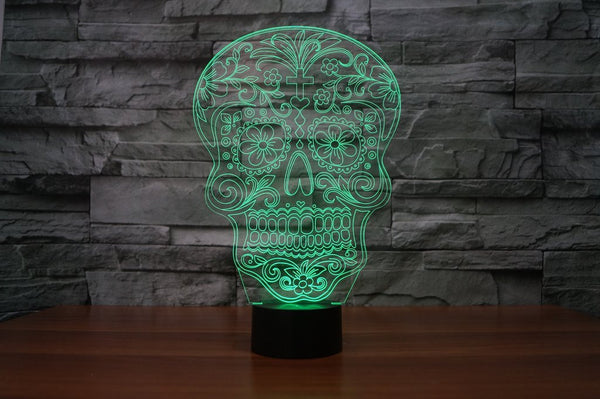 Sugar Skull 3D Lamp - 8 Changeable Color