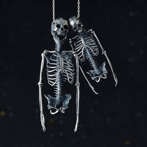 Half Skeleton Sterling Silver Necklace