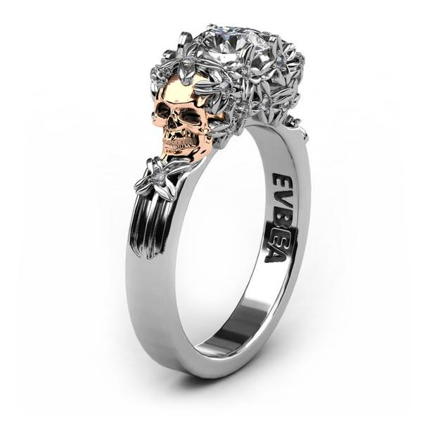 Skull Zircon Ring - Siler or Gold