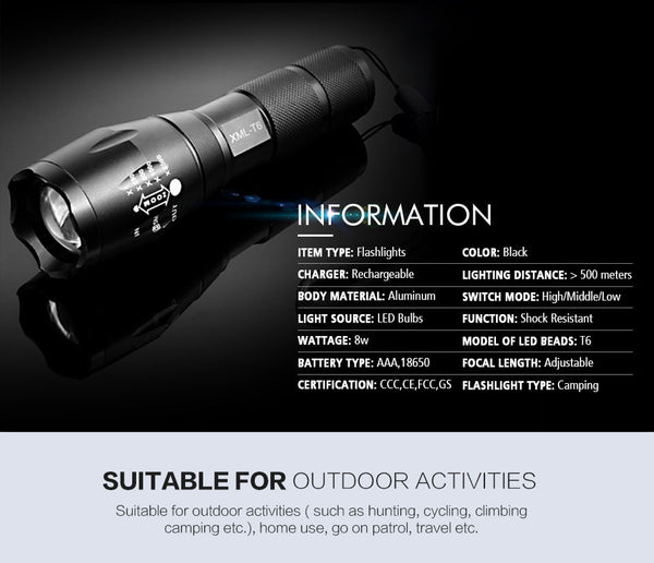 CREE XM-L T6 Led Flashlight 3800Lumens