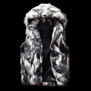 Hooded Fur Biker Vest