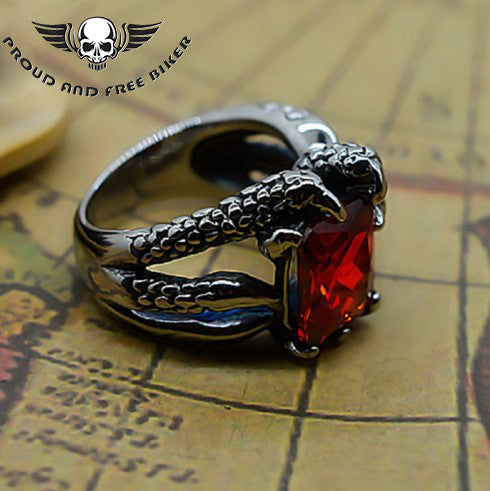RUBY DRAGON CLAW RING