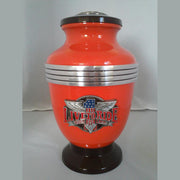 Biker Cremation Urn—Orange | Best Biker Cremation Urn—Orange | Biker Cremation Urn