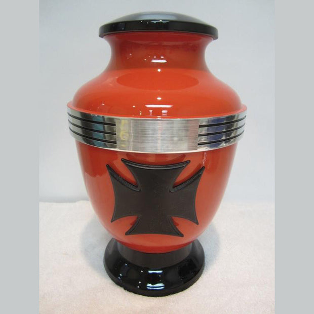 Biker Cremation Urn—Cross | Biker Metal Cremation Urn | Best Metal Cremation Urn