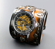 Chronograph Studded Leather Cuff Watch