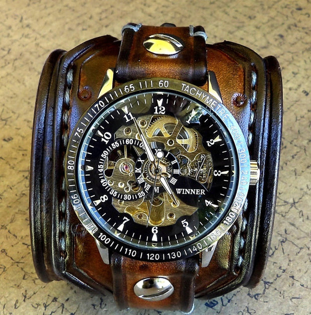 Chronograph Leather Cuff Watch
