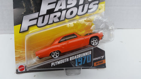 Hot Wheels Fast and Furious 1:55 Scale, 1970 Plymouth Road Runner