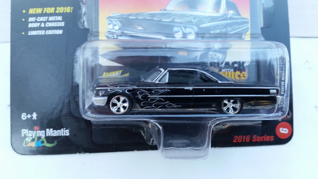 Johnny Lightning Street Freaks 2016, Release 1A, 1963 Ford Galaxie 500, Black with Flames