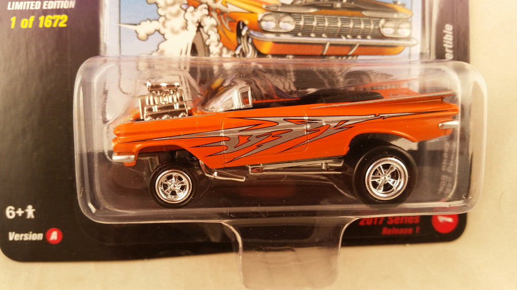 Johnny Lightning Street Freaks 2017, Release 1A, 1959 Chevy Impala Convertible, Zingers