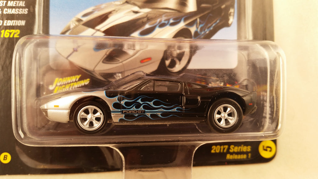 Johnny Lightning Street Freaks 2017, Release 1B, 2005 Ford GT, Black with Flames