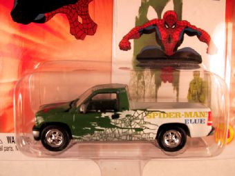 Johnny Lightning Marvel Comic Cars, Release 3, '99 Chevy Silverado, Spider-Man Blue