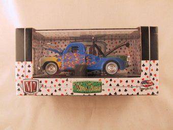 M2 Machines Wild Card Auto-Thentics, Release 01, 1951 Studebaker 2R Tow Truck, Blue with Flames