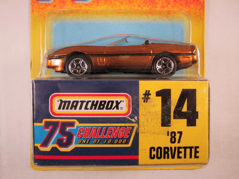 Matchbox 75 Challenge Gold Vehicle, #14 '87 Corvette