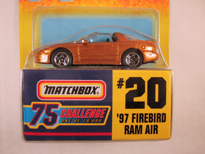 Matchbox 75 Challenge Gold Vehicle, #20 '97 Firebird Ram Air