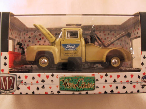 M2 Machines Wild Card Auto-Thentics, Release 03, 1956 Ford F-100 Tow Truck, Pea Green