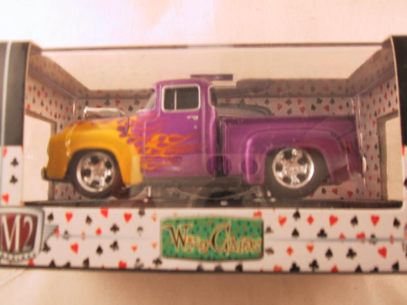 M2 Machines Wild Card Ground Pounders, Release 01, 1956 Ford F-100, Purple/Yellow