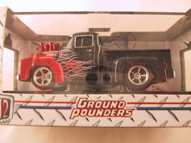 M2 Machines Ground Pounders, Release 10, 1956 Ford F-100 Pickup, Black with Flames, Missing Screw