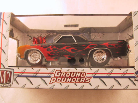 M2 Machines Ground Pounders, Release 10, 1970 Chevrolet El Camino, Black with Flames