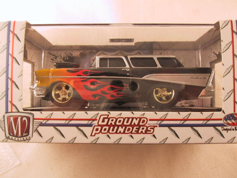 M2 Machines Ground Pounders, Release 10, 1957 Chevrolet Nomad Station Wagon, Black with Flames