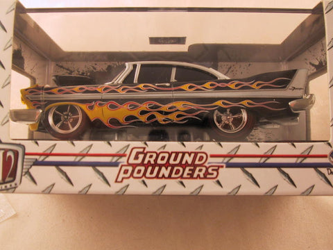 M2 Machines Ground Pounders, Release 10, 1958 Plymouth Fury, Black with Flames