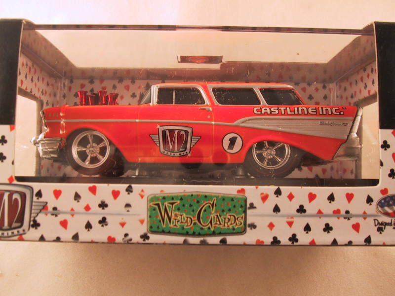 M2 Machines Wild Card Ground Pounders, Release 02, 1957 Chevrolet Nomad Station Wagon, Orange