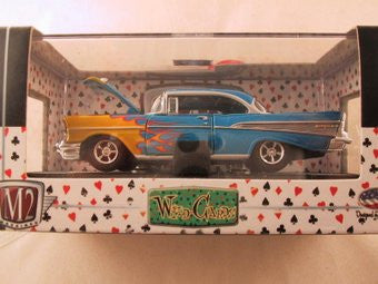 M2 Machines Wild Card Auto-Thentics, Release 04, 1957 Chevrolet Bel Air, Blue with Flames