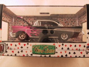 M2 Machines Wild Card Auto-Thentics, Release 04, 1957 Chevrolet Bel Air, Black with Flames