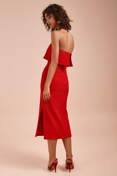 ENTICE MIDI DRESS RED (XS) - NUDE REUSE