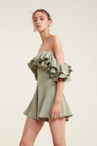 IMMERSE RUFFLED ROMPER (M) - NUDE REUSE