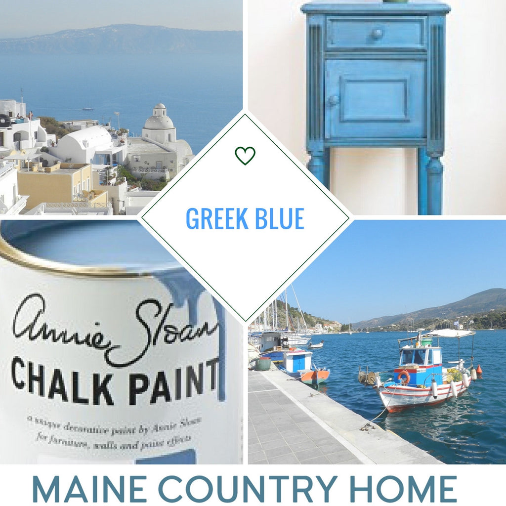 Maine Country Home Annie Sloan Chalk Paint Collage Greek Blue