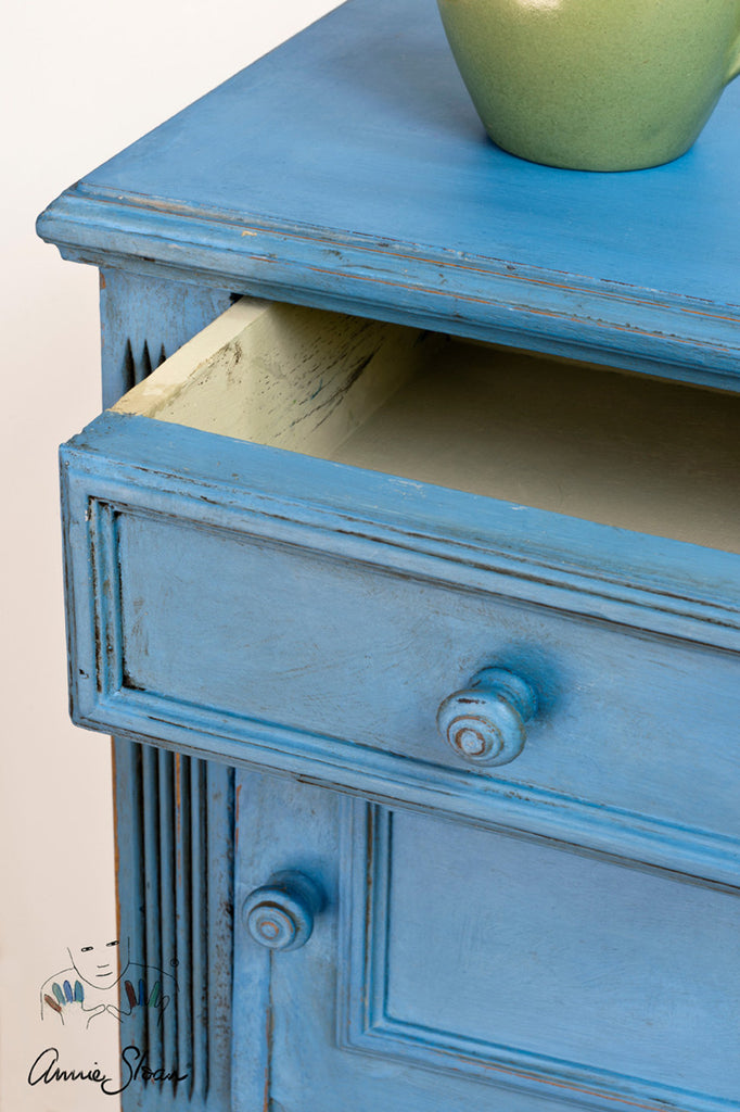 Annie Sloan Amsterdam Greek Blue nightstand top