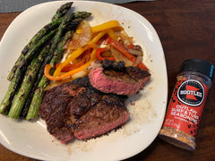 Outlaw Surf & Turf steak and asparagus
