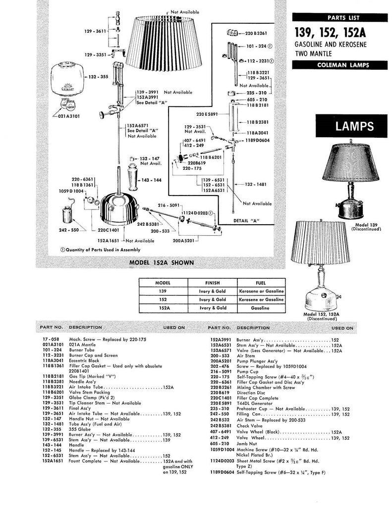 Coleman Lantern Seal Reference Chart & Parts Diagrams