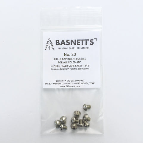 Basnett's No. 20 Filler Cap Insert Screws for Coleman Lanterns with Three Piece Fuel Caps. Perfect for replacing old Coleman parts.