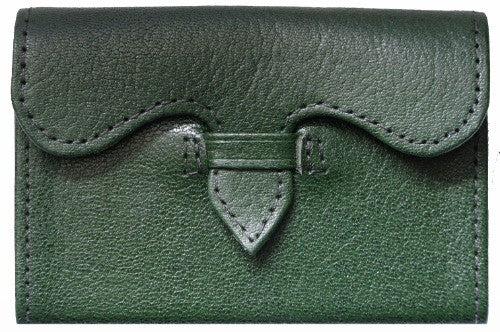 Man or Woman's Luxury Leather Business Card Holder in Forest Green