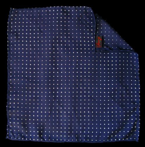 Pimpernel Clothing Navy Blue & White Polka Dot Silk Pocket Square