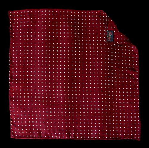 Pimpernel Clothing Claret Red & White Polka Dot Silk Pocket Square
