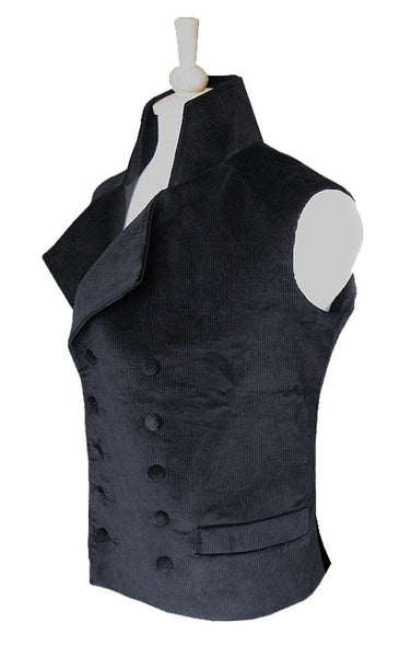 Pimpernel Clothing Duellist Waistcoat in Black Corduroy and Black Silk Taffeta