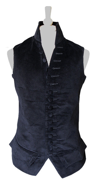 Pimpernel Clothing Libertine Waistcoat in Black Corduroy and Black Silk Taffeta
