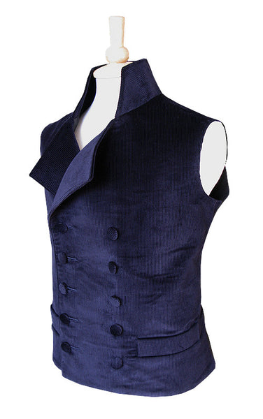 Pimpernel Clothing Duellist  Waistcoat in Navy Blue Corduroy and Black Silk Taffeta