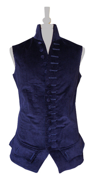 Pimpernel Clothing Libertine Waistcoat in Navy Blue Corduroy and Black Silk Taffeta
