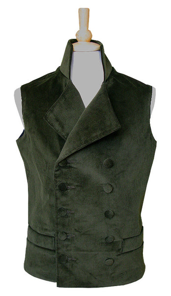 Pimpernel Clothing Duellist Waistcoat in Olive Green Corduroy and Black Silk Taffeta