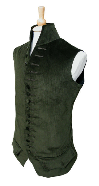 Pimpernel Clothing Libertine Waistcoat in Olive Green Corduroy and Black Silk Taffeta